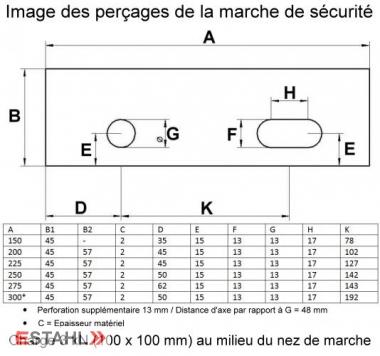 Marche de sécurité 900 x 250 x 45 mm