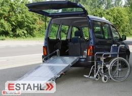 Rampe pour fauteuil roulant avec ressort à gaz pour installation fixe
